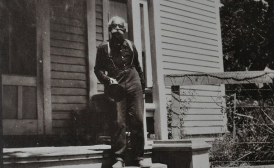 Black pioneer, Albert Robinson, in front of the Hotel Robinson, now the Historic Julian Hotel.