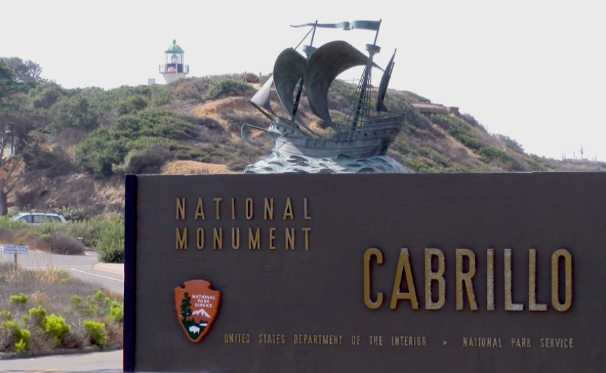 A sign for Cabrillo National Monument sits at the entrance of the park in Point Loma, Aug. 10, 2017.