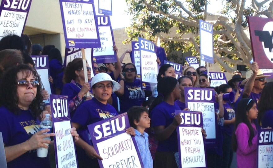 More than 200 Head Start employees march in San Marcos over stalled contract talks with the Metropolitan Area Advisory Committee, March 24, 2015.