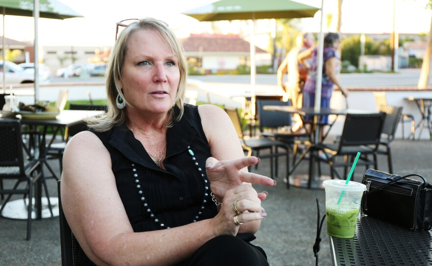 Nancy Layne, a Lilac Hills Ranch supporter, outside of a restaurant in Escondido. Layne recently filed a complaint against CLEAR with the state's elections watchdog. Oct. 21, 2016.