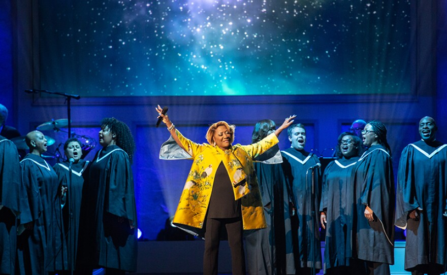 """Patti LaBelle performs with NEWorks Voices of America choir performs at """"Emilio & Gloria Estefan: The Library of Congress Gershwin Prize for Popular Song,"""" March 13, 2019, DAR Constitution Hall in Washington, D.C. The program premieres May 3, 2019 on PBS."""