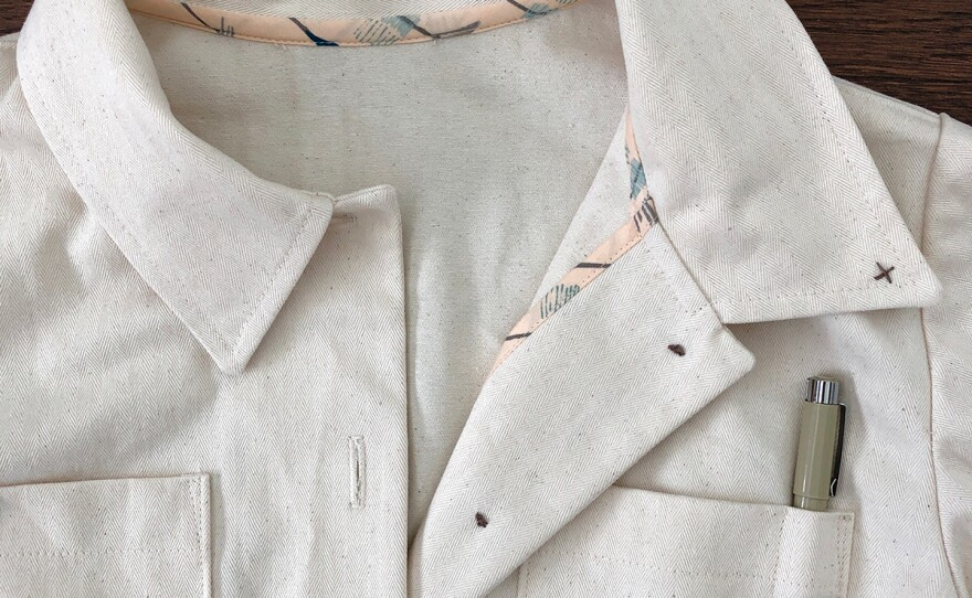 A closer look at one of Trista Roland's coverall shirt collars in an undated photo.