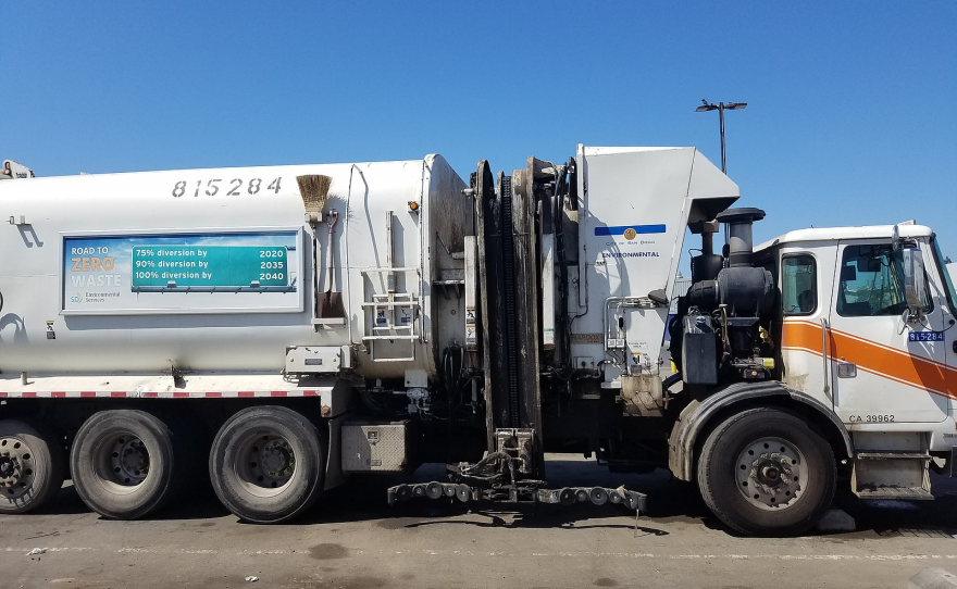 A San Diego trash truck is shown parked at the Miramar Landfill, Sept. 12, 2019.