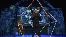 Ron Campbell on stage at San Diego REP playing R. Buckminster Fuller.