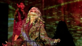 """Kerry McCue stars as The Frau in """"Amazons and Their Men,"""" now playing at Diversionary Theatre."""