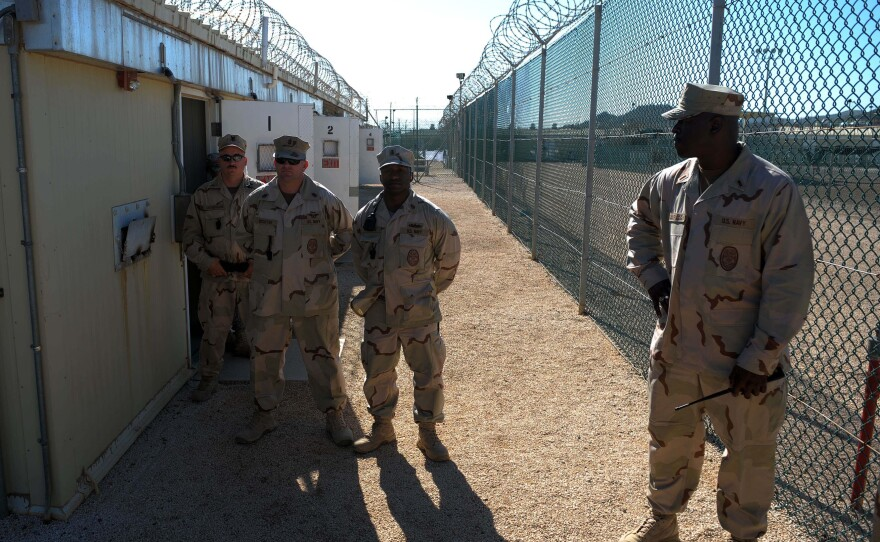 An image reviewed by the U.S. military shows guards at the Camp Four detention facility during a media visit December 10, 2008 on U.S. Naval Station Guantanamo Bay, Cuba.