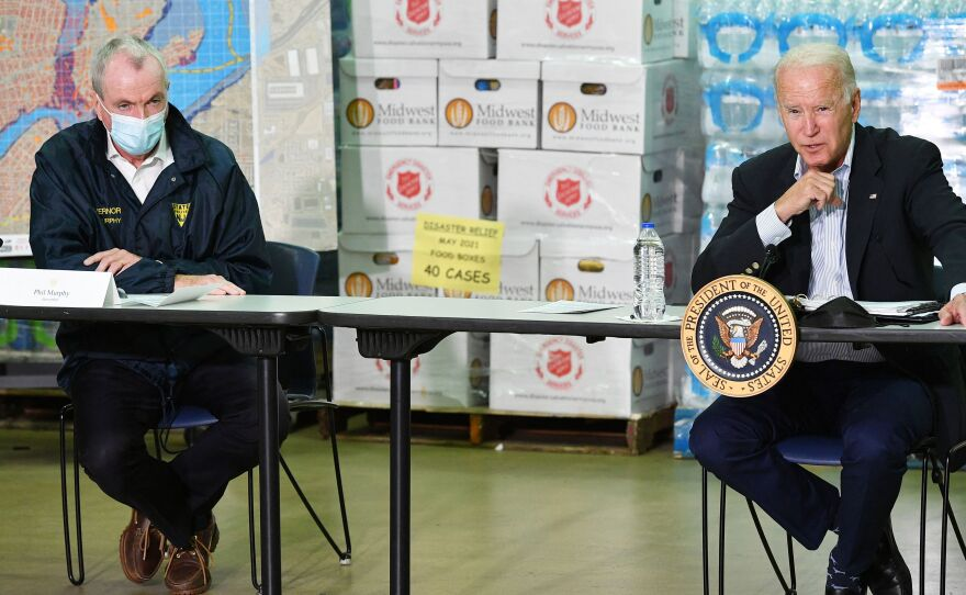 President Biden takes part in a briefing with New Jersey Governor Phil Murphy and other local leaders in the aftermath of Hurricane Ida on Tuesday.