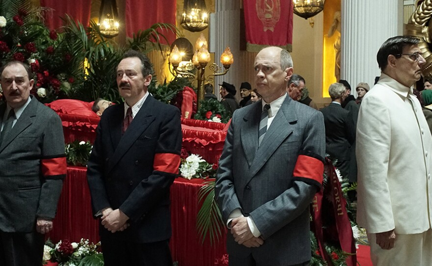 """Dermot Crowley as Kaganovich, Paul Whitehouse as Mikoyan, Steve Buscemi as Krushchev, Jeffrey Tambor as Malenkov, and Paul Chahidi as Bulganin at the funeral of Josef Stalin in the new film """"The Death of Stalin."""""""