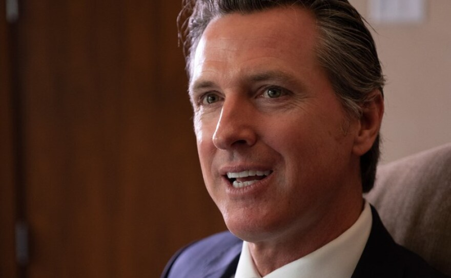 Gavin Newsom reflects on his first 100 days as governor of California in this undated photo.