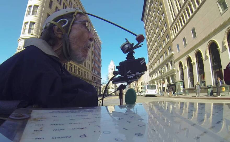 Filmmaker Brad Bailey affixed a camera to Hale Zukas' wheelchair, to show his perspective as he zooms around the Bay Area in this undated photo.