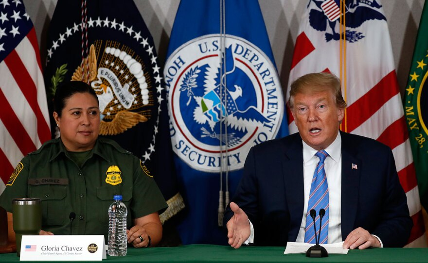 President Donald Trump participates in a roundtable on immigration and border security at the U.S. Border Patrol Calexico Station in Calexico, Calif., Friday April 5, 2019.