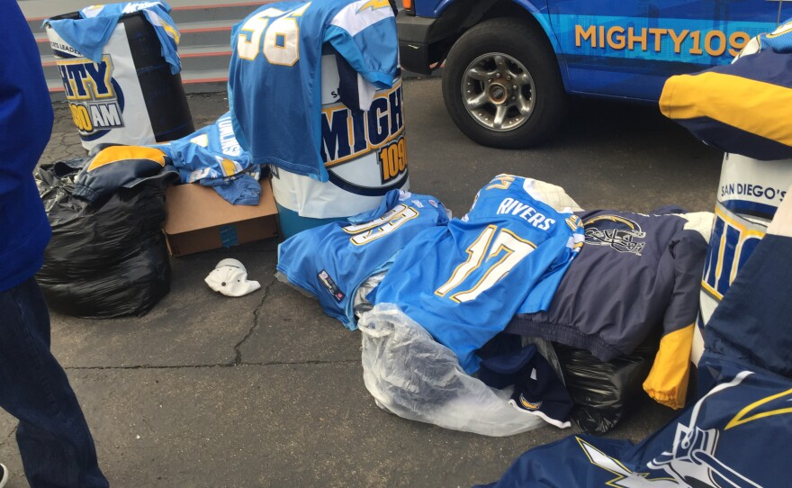 Chargers fans donated unwanted jerseys and clothing to the Alpha project at Valley View Casino to help the homeless, Jan. 13, 2017.