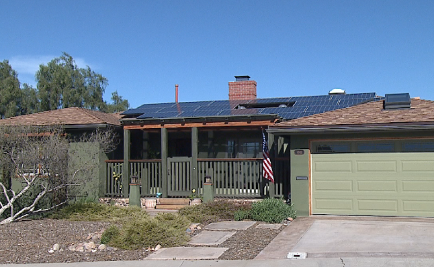 A home in the El Cerrito neighborhood of San Diego has solar panels on its roof, Jan. 25, 2016.