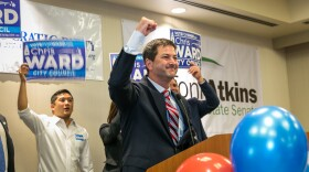 Chris Ward speaks to the crowd at the San Diego County Democratic Party's gathering at the Westin Hotel in downtown San Diego, June 7, 2016. Ward won the election to replace San Diego City Councilman Todd Gloria in representing San Diego's District 3.
