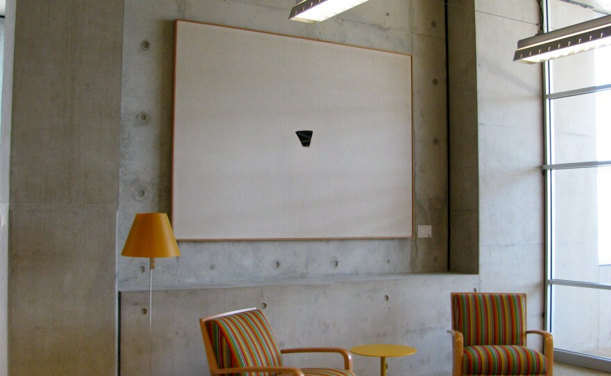 """Russell Baldwin, """"HARDEDGE,"""" early 1970s, carved gabbro and canvas, 72"""" x  97"""" (fifth floor). Gift of San Diego Public Library Foundation and Doris R. Campbell in memory of Chas R. Koehler. San Diego Public Library Visual Arts Program Acquisition, City of San Diego Civic Art Collection 2013.112."""
