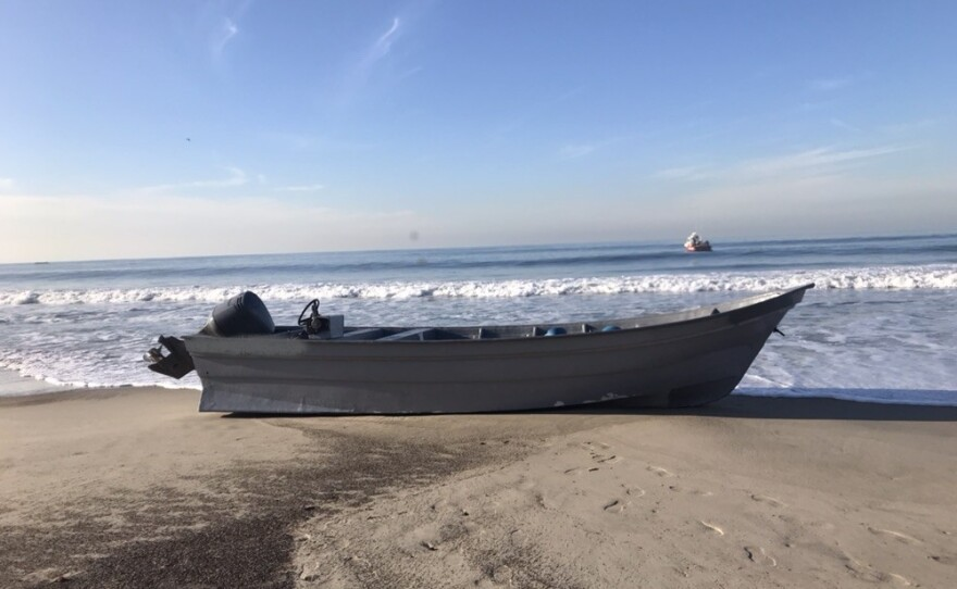 A panga boat intercepted by Border Patrol agents off the coast of Point Loma on Dec. 1, 2019.