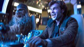 "Chewbacca (Joonas Suotamo) and Han Solo (Alden Ehrenreich) pilot the Millennium Falcon in ""Solo: A Star Wars Story."""