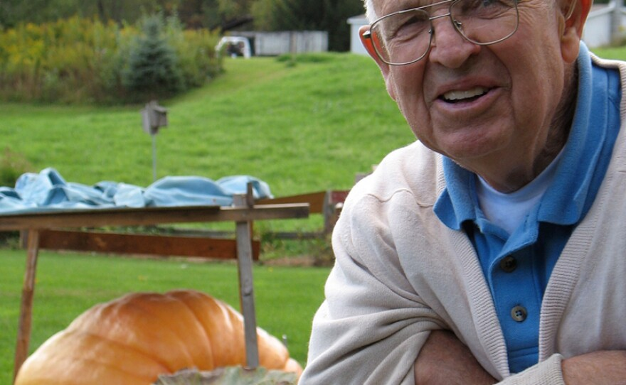 Bernie Potter, one of the oldest competitors in the giant pumpkin weigh-off.