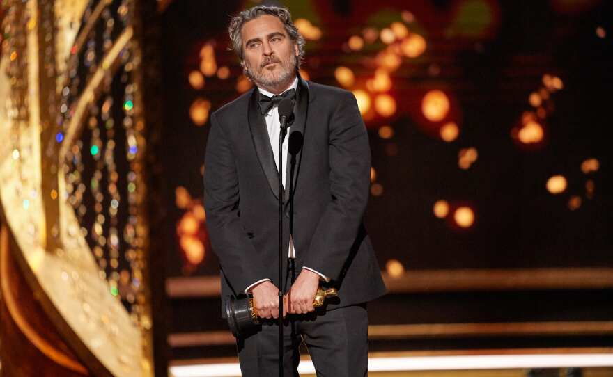 Joaquin Phoenix accepts the Oscar® for Actor In A Leading Role during the live ABC Telecast of The 92nd Oscars® at the Dolby® Theatre in Hollywood, CA on Sunday, February 9, 2020.