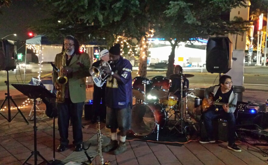 The band Musa and the Vibrational Tones plays at Taste of Four Corners food market on Friday, Dec. 5, 2014.