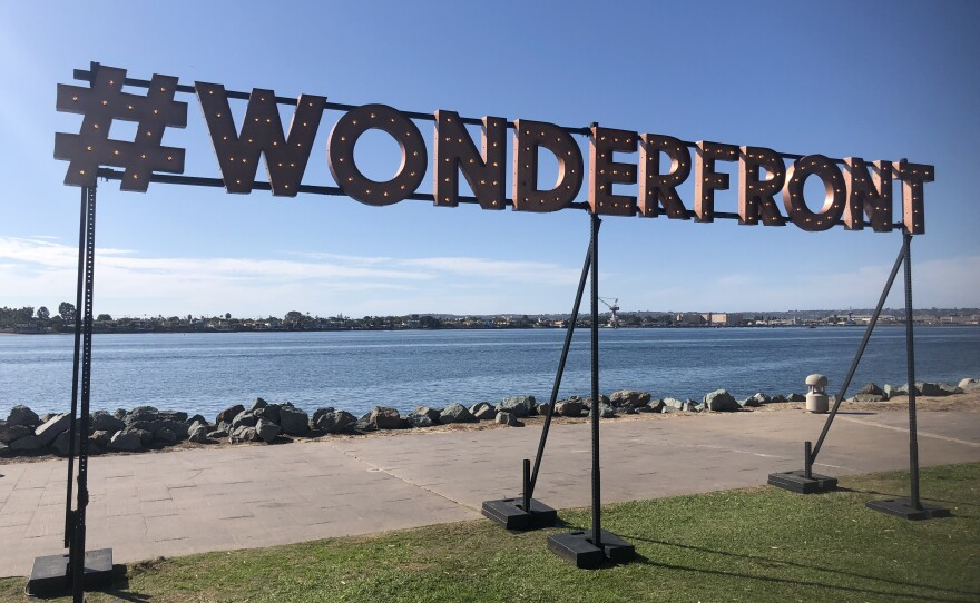 Wonderfront light-up sign at the Embarcadero in downtown San Diego on Nov. 22, 2019.