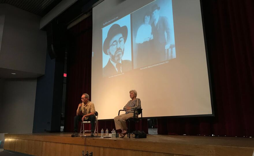 Ben and Rose Schindler speak to students at Ramona High School in this photo taken Oct. 23, 2019.