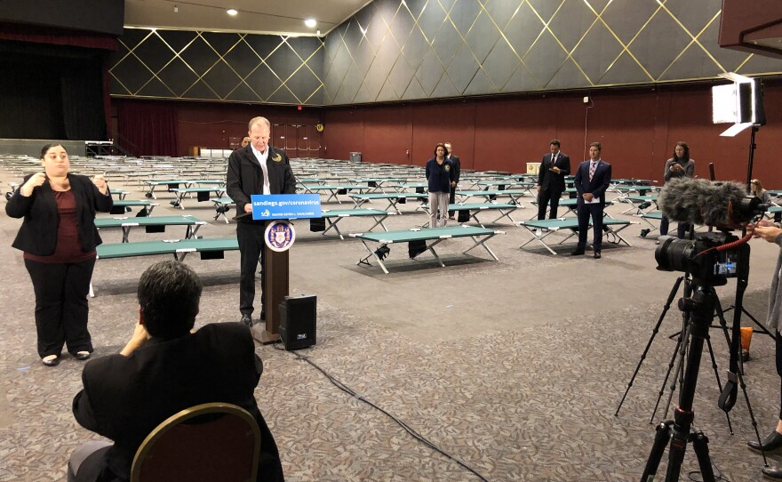 Mayor Faulconer announced the city's plans for combating COVID-19 among the city's homeless population.