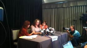 Michelle Tyler, Gloria Allred and Katherine Ragazzino speak at an August 6, 2013 press conference, where they described the mayor's alleged unwanted sexual advances toward Tyler.