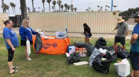 Volunteers at the beach cleanup at Ocean Beach in San Diego County. July 5, 2021.