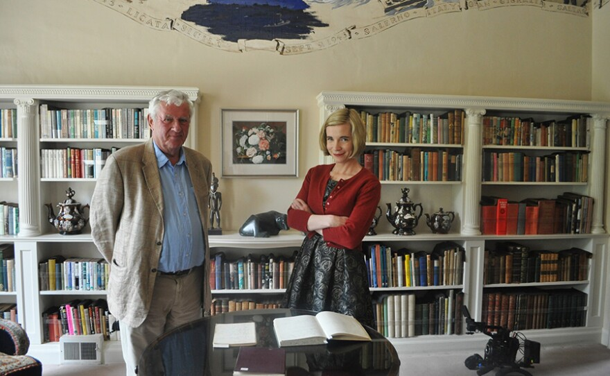 Lucy Worsley (right) with Agatha Christie's grandson at Greenways, Devon.