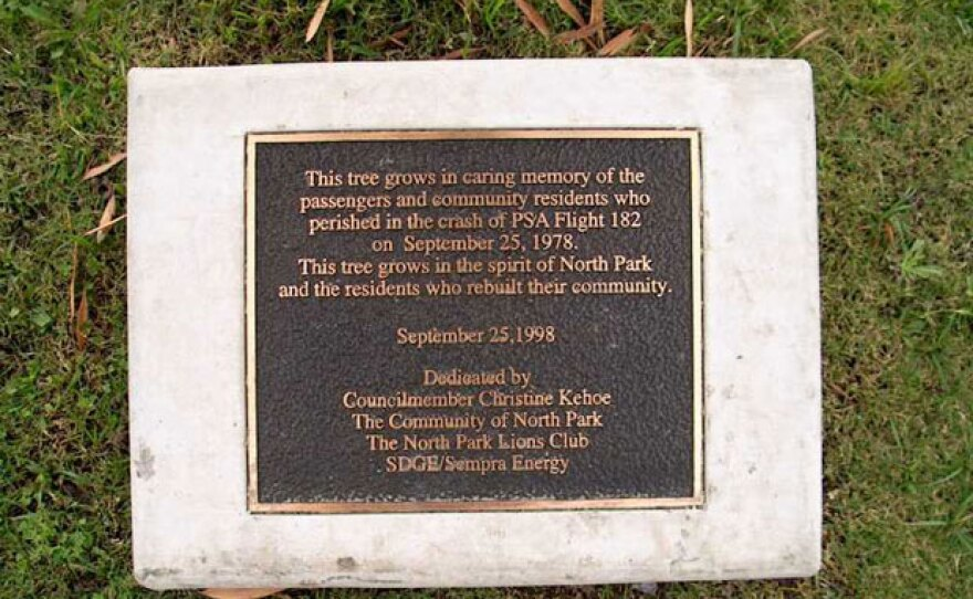 Plaque honoring victims of the crash of PSA Flight 182.