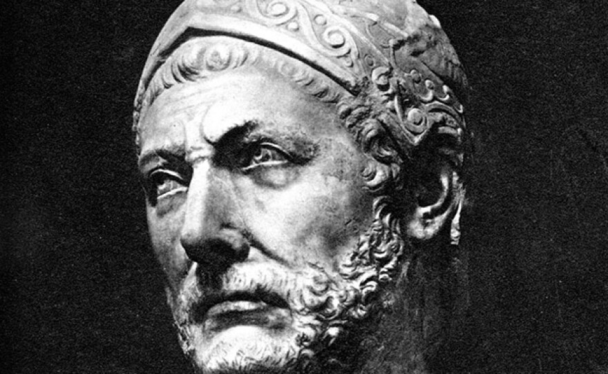A marble bust, reputedly of Hannibal, originally found in the ancient city-state of Capua in Italy.