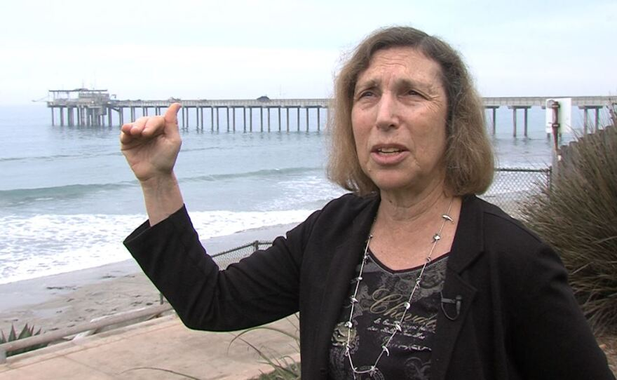 Scripps Institution of Oceanography's Lisa Levin stands near the Scripps Pier talking about the worrying trend of falling oxygen levels in ocean waters around the world, Jan. 3, 2018.