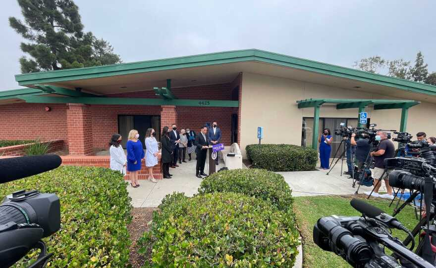 Mayor Todd Gloria and other local leaders hold a press conference regarding the opening of a Monoclonal Antibody Regional Center to provide on-site COVID-19 testing and early treatment in the Clairemont area of San Diego County, Calif. Aug. 30, 2021.