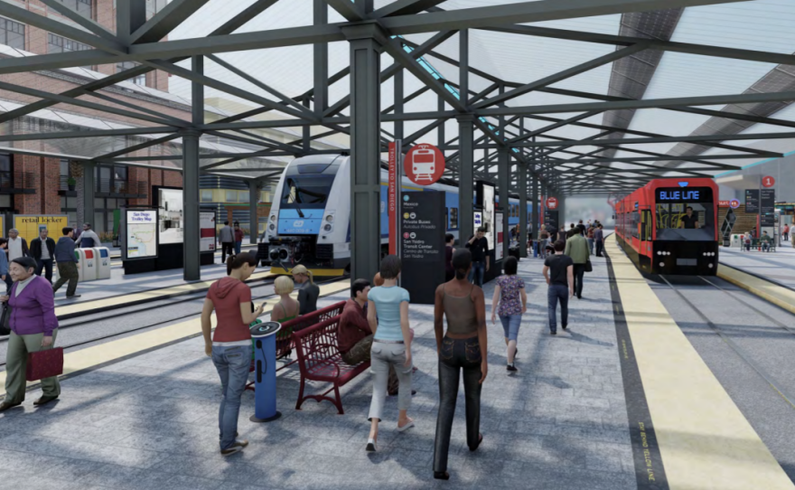 A conceptual rendering shows a re-imagined San Ysidro Transit Center as part of SANDAG's vision for the 2021 regional transportation plan.