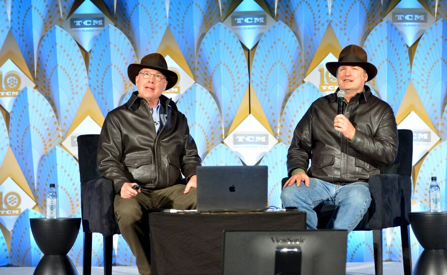 """Ben Burtt and Craig Barron at their 2019 TCM Classic Film Festival presentation of """"Raiders of the Lost Ark."""" This year they have created a video presentation for the TCMFF Home Edition for """"Chain Lightning."""""""