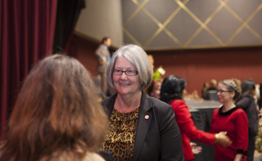 San Diego City Councilwoman Sherri Lightner is shown on the day she was elected council president, Dec. 10, 2014.