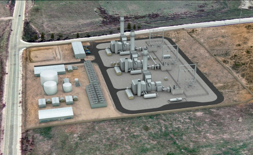 An artist's rendering of the Pio Pico power plant proposed for a location in Otay Mesa.