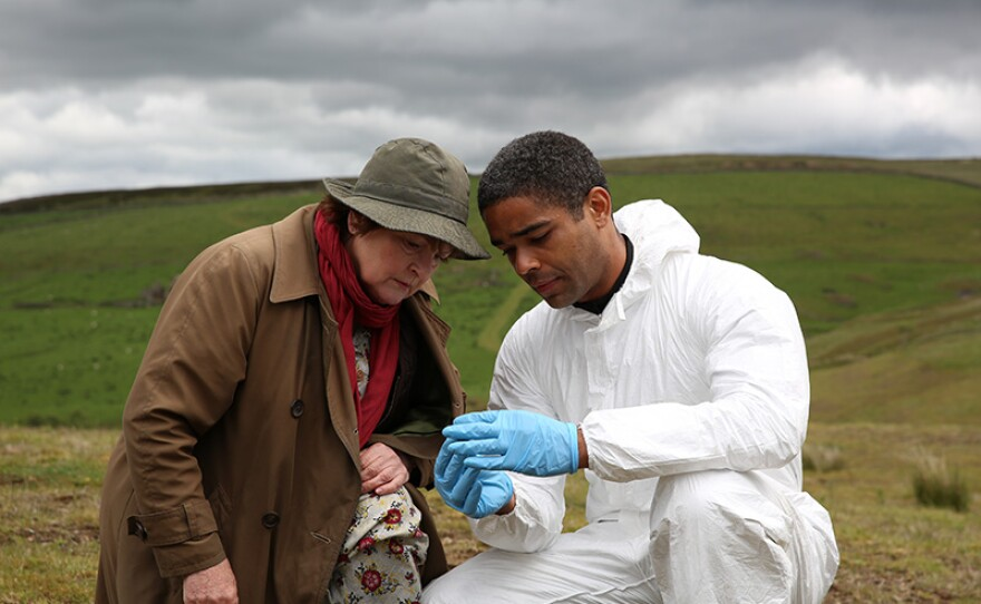 """Brenda Blethyn as Detective Chief Inspector Vera Stanhope, and Kingsley Ben-Adir as pathologist Marcus Summer, in a scene from """"Dark Road"""" from VERA Season 6."""