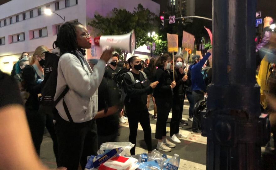 Protesters gather in downtown San Diego June 27, 2020 after San Diego police officers shot a man, June 27, 2020.
