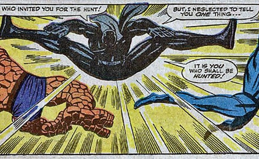 Black Panther's first appearance in Fantastic Four Issue #52 where he fought the four superheroes and beat them.