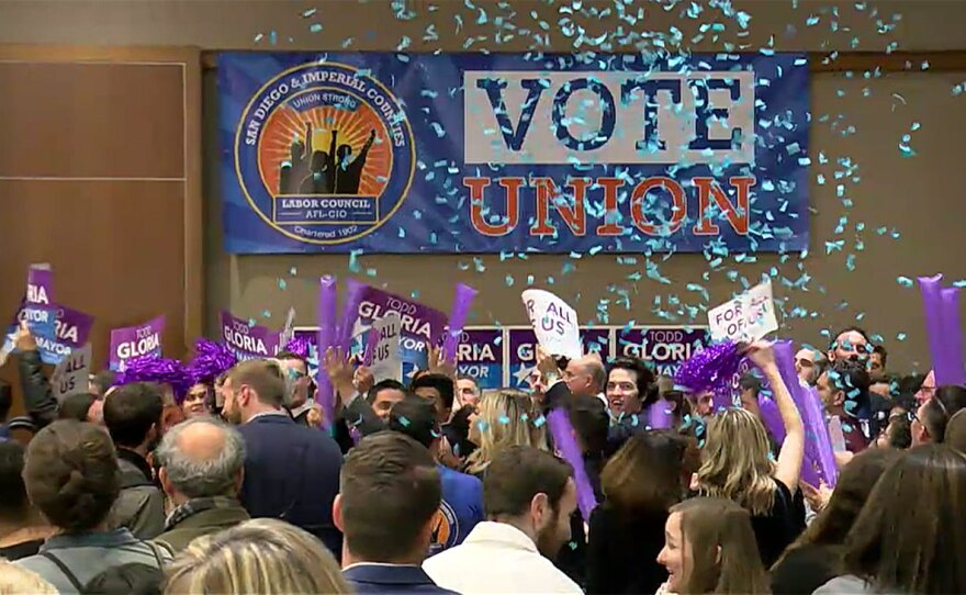 Confetti drops down on supporters of Democratic mayoral candidate Todd Gloria, March 3, 2020.