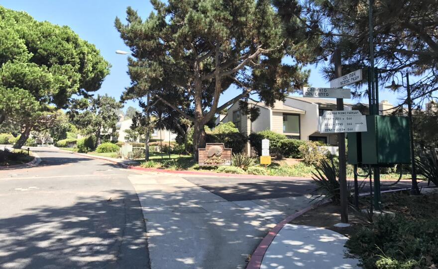 """The intersection of Caminito del Canto and Del Mar Scenic Parkway in Del Mar Heights is seen here, Aug. 17, 2017. San Diego has budgeted $155,000 to install curb ramps and redo a driveway here as part of its """"Vision Zero"""" budget."""