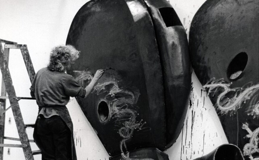 """Elizabeth Murray hard at work on """"Tomorrow,"""" oil on canvas (four parts)."""