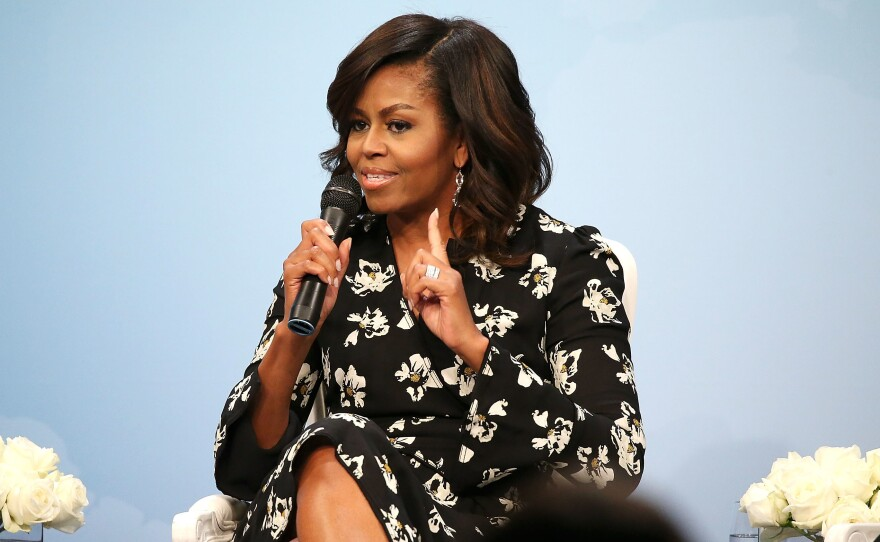 Former first lady Michelle Obama, pictured in October 2016, announced on Sunday that her new memoir titled Becoming will be released on November 13.