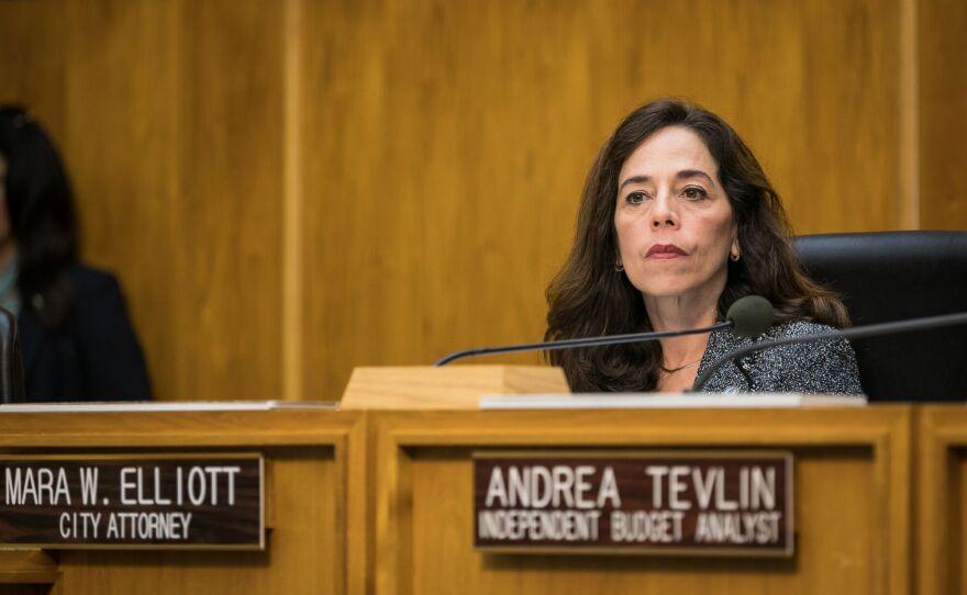 San Diego City Attorney Mara Elliott sits at the dais, Dec. 12, 2016.