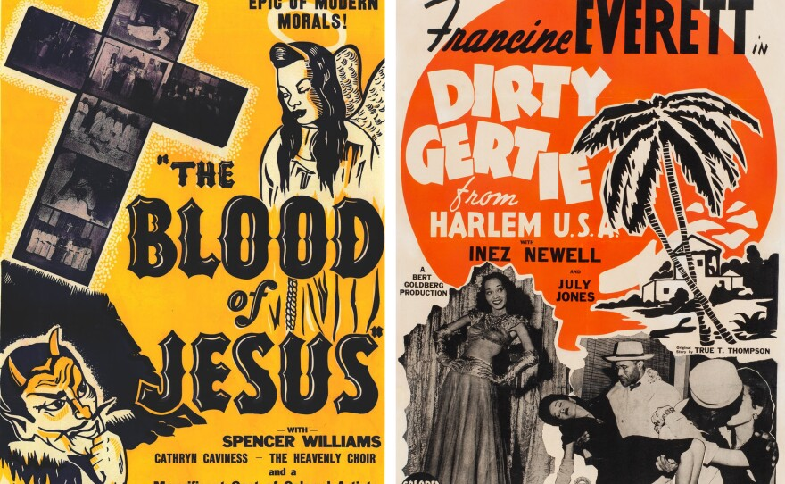 """Posters for the Spencer Williams directed films """"The Blood of Jesus"""" (1941) and """"Dirty Gertie from Harlem USA."""""""