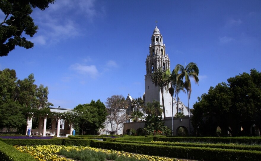 The California Tower is seen from Alcazar Garden in this undated photo.