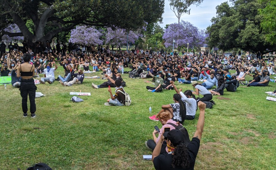 Protesters gathered in Balboa Park where they read the names of black people who were killed by police, June 1, 2020.