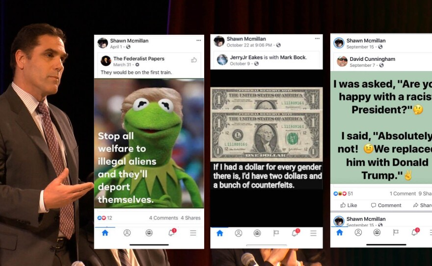 Judicial candidate Shawn McMillan speaks at a forum Wednesday, Feb. 19, 2020, hosted by the San Diego chapter of the Black Political Association of California. (Inset) Screenshots of memes candidate Shawn McMillan acknowledged to KPBS that he shared on Facebook.